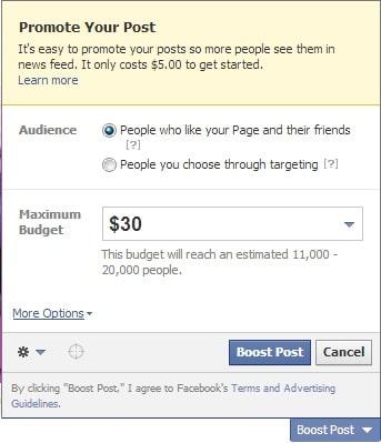 FB status promote